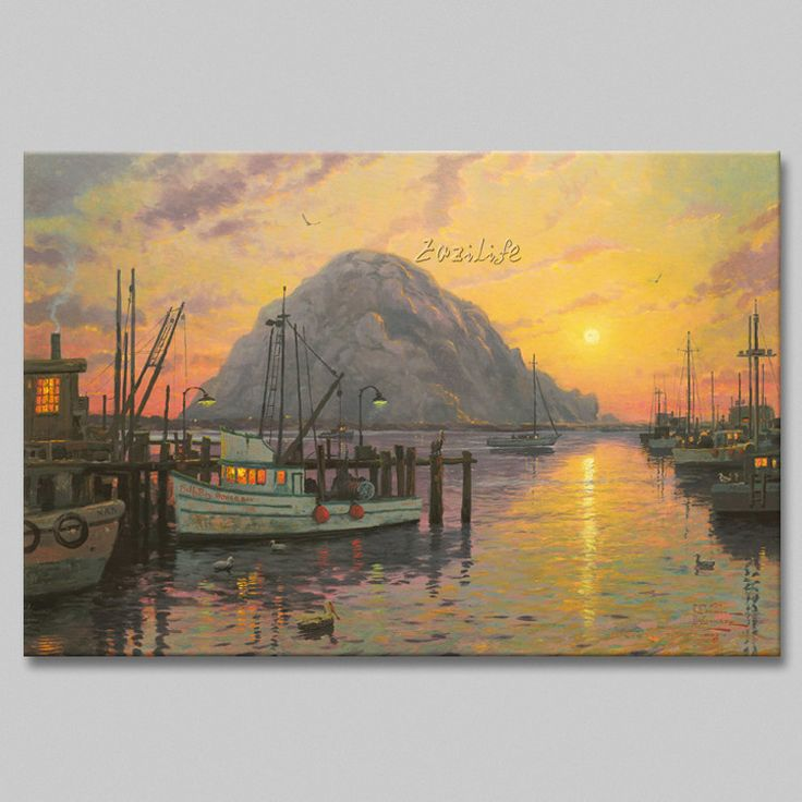 Find More Painting & Calligraphy Information about Framed Thomas Kinkade Oil Paintings Morro Bay at Sunsetr Art Decor Painting Print Giclee Art Print On Canvas,High Quality painting large canvas,China canvas art oil painting Suppliers, Cheap canvas messenger shoulder bag from Eazilife Oil Painting on Aliexpress.com