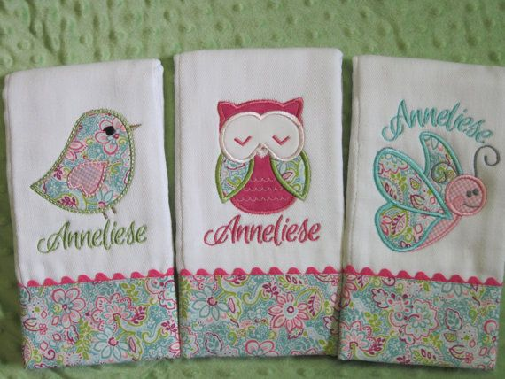 Personalized Baby Girl Burp Cloths by SassyJunebugDesigns on Etsy, $35.00
