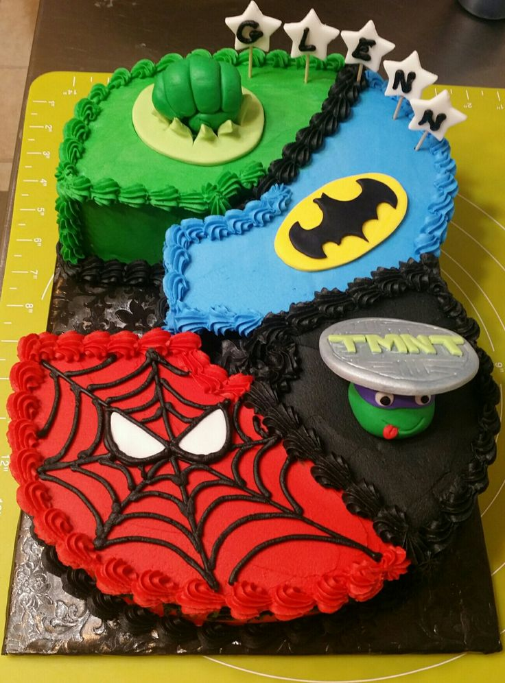 Hulk, Spider-Man, Tmnt, and Batman Cake