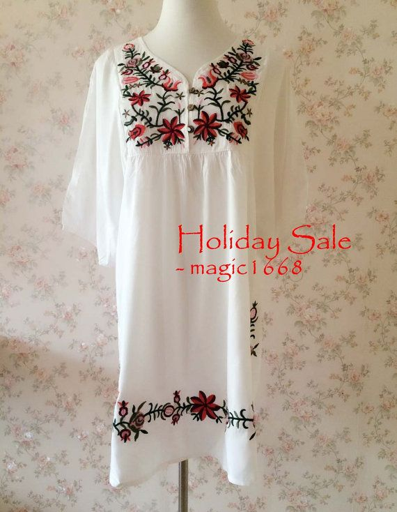 White Plus Size Clothing Maternity dress Loose fit Cotton Dress Vintage Inspired Dress Knee length Dress Tunic Dress Embroidery Summer Dress