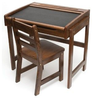 Lipper International Child's Desk With Chalkboard Top and Chair Set - traditional - kids tables - by Amazon