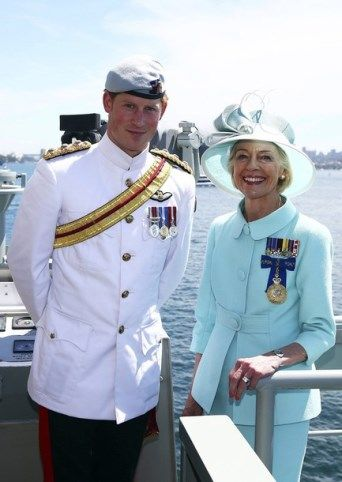 10-5-13.   The Prince Harry attended in the company of Mrs. Quentin Bryce, Governor-General of Australia to the great naval parade in Sydney Harbour on the occasion of 100 years of the Royal Australian Navy