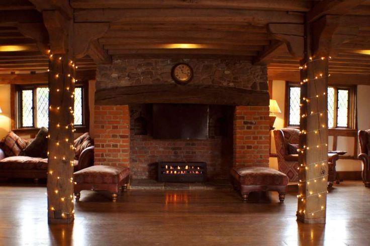 Fairy lit pillars at Cain Manor