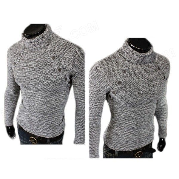 MJ14 Fashion Multi-button Men's Cotton Blend Turtleneck Sweater - Grey (L)