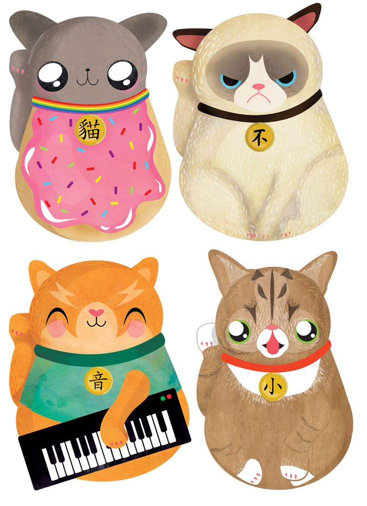 Maneki Neki-NO - Grumpy cat and his buddies