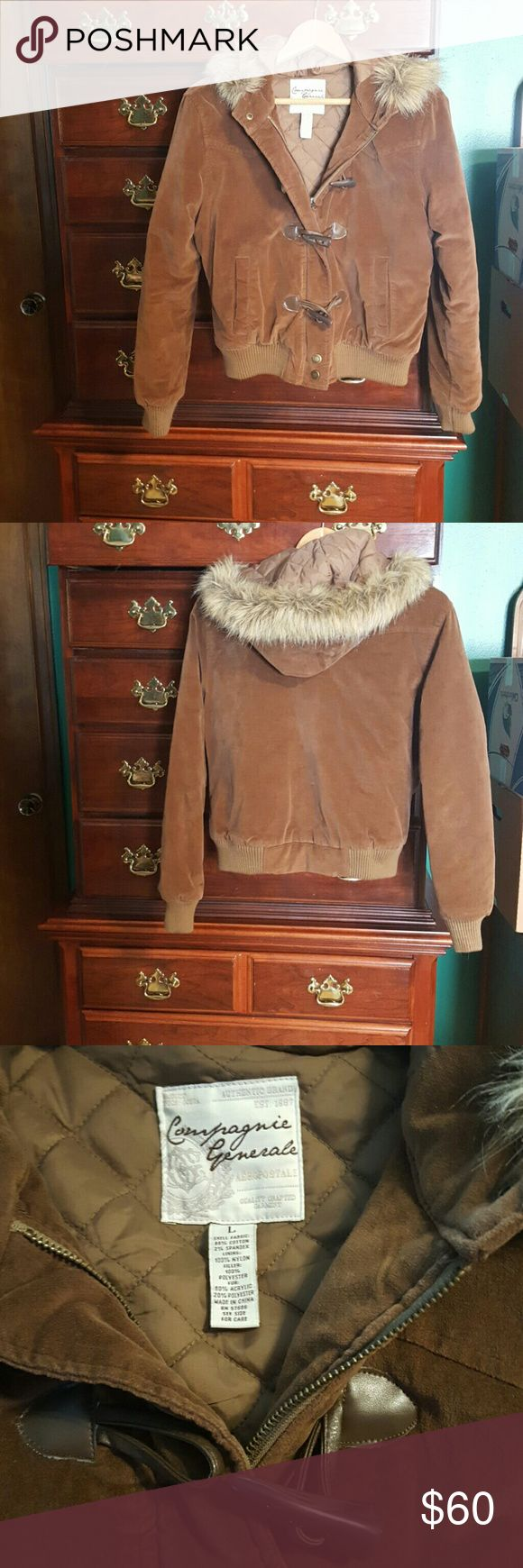 padded bomber jacket with fur trimmed hood Super warm winter coat in the style of a bomber jacket.  Padded, lined interior, soft suede-like exterior.  The hood is trimmed with soft faux fur. In perfect condition.  I'm honestly not sure it was ever worn. Aeropostale Jackets & Coats Puffers