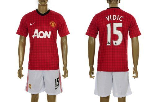 Manchester United 2012 - 2013 VIDIC Home Jersey Shirt & Shorts Size L by Nike. $49.99. Machine washable. Manchester United Club badge. Printed sponsor. Nike Dri-Fit fabric. Adult Jersey  Shirt & Shorts  Size L. Nike Manchester United Home Jersey 2012/2013  Cheer on the Red Devils in the new Nike Manchester United 2012/2013 Home Shirt, complete with a checked design for a fresh and stylish look, with the club badge and Nike Swoosh adorning the chest and the official sponsor acro...