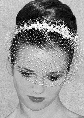 Birdcage veil and tiara - The Knot