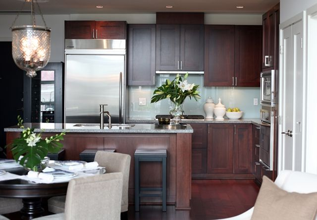 Cherry Kitchen Cabinets With Grey Walls.  So classy.
