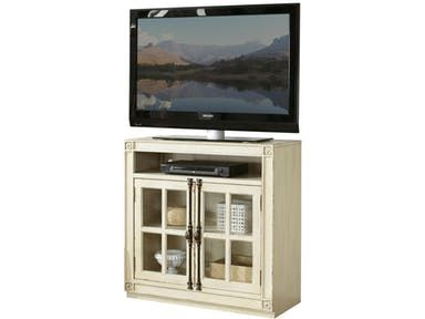 Constructed of Poplar solid and Birch veneer. Open electronic storage area above the doors. Two framed-glass doors enclose an adjustable shelf.
