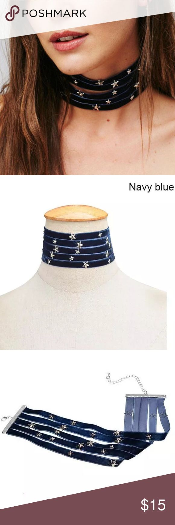 New✨Silver Stars & Navy Blue Velvet Choker  😍✨✨ ✨Fashion Jewelry ✨Alloy, Silver Plated   🔸Brand New✨ 🔸PRICE IS FIRM- already listed at lowest price  🔸If you want to save please look into bundling  🔸In Stock 🔸No Trades 🔸Will ship within 24 hours Monday-Friday  🚫Please -NO- Offers on items priced $10 and under AND ON SALE ITEMS‼️‼️‼️  🚫Serious Inquiries Only❣️  🔹Bundle one or more items from my boutique to only pay one shipping fee✨ Jewelry Necklaces