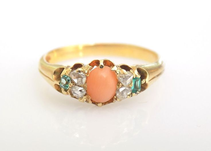 30 best victorian coral jewellery images on pinterest coral victorian 18ct gold coral emerald diamond engagement ring size l uk 55 us aloadofball Image collections