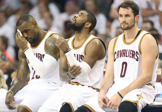 April 18, 2015 -- Cavaliers Big 3 - LeBron James, Kyrie Irving, and Kevin Love after the Cleveland Cavaliers' Game 1 win against the Boston Celtics. The Cavaliers WON 113 to Boston Celtics 100.