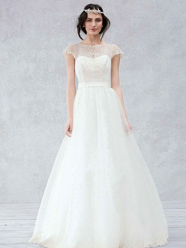Galina Cap Sleeve Wedding Dress with Scalloped Detail Bodice. Exclusively at David's Bridal.