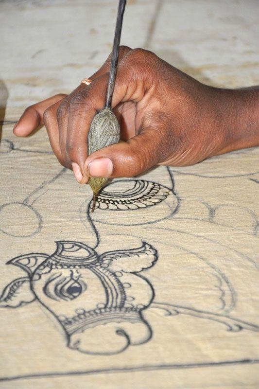 Kalamkari art in progress.