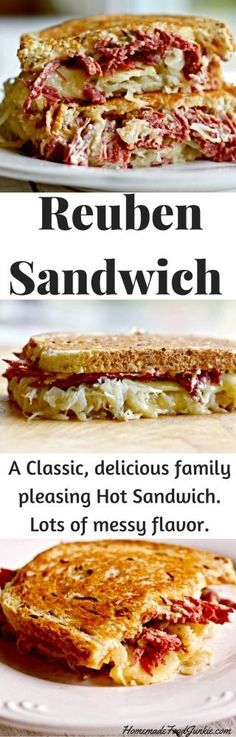 Reuben Sandwich is a Hot Toasted creation made with Corned Beef, Sauerkraut and thousand island dressing. So good!