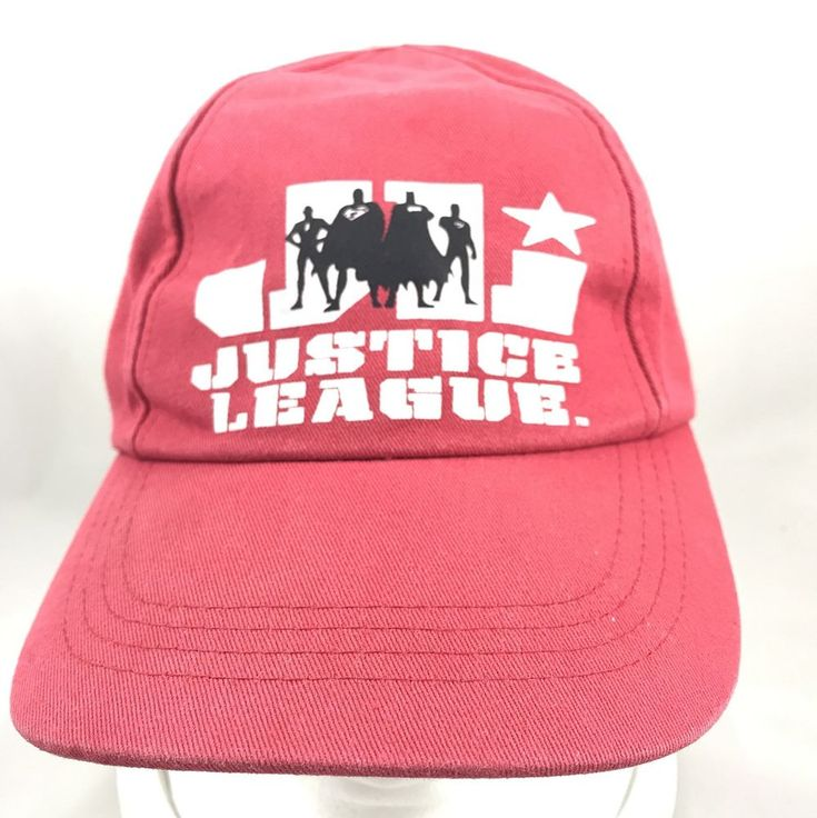 Justice League Superhero Red White Baseball Cap Hat Adjustable DC Comics #DCComics #BaseballCap