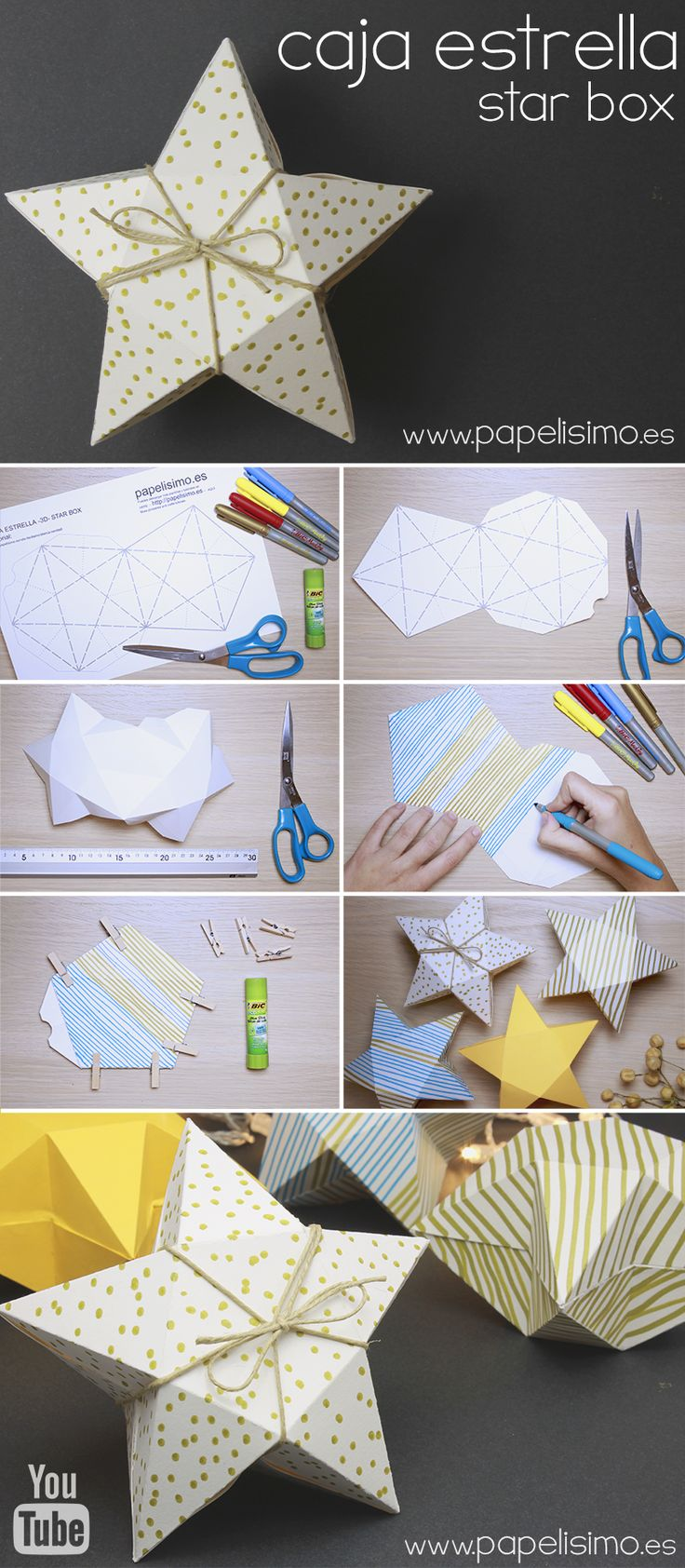 Tutorial caja de cartulina con forma de estrella | http://papelisimo.es/tutorial-caja-de-cartulina-estrella-star-box/