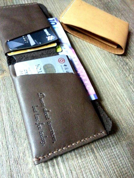 Personalisierte Mens Karte Brieftasche - einfache Wallet - dünne Geldbörse - Bi-Fold - Rechnung Falten - Kartenhalter
