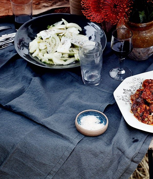 Australian Gourmet Traveller recipe for fennel salad with salted ricotta.