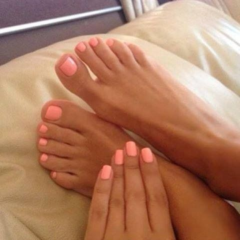 Peach nail color, perfect for spring and summer with a little bit of a tan.