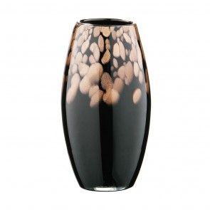 Oval Vase, Gold Shimmer, Black Glass