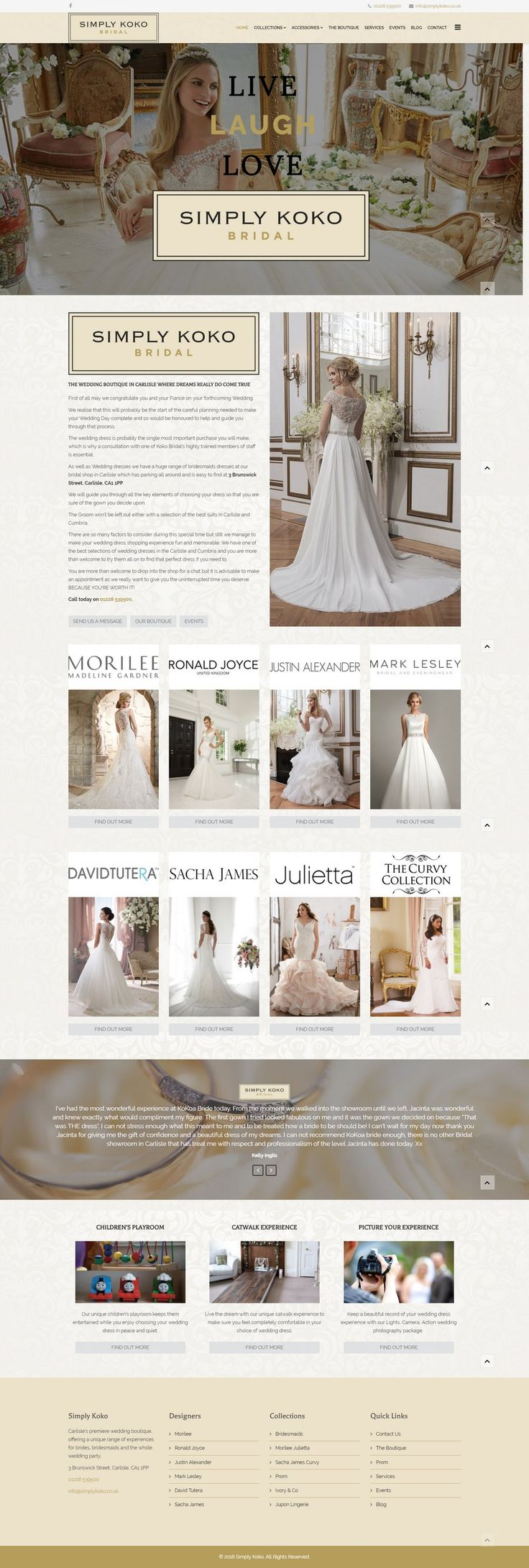 Showcasing the range of wedding and bridal products available from Simply Koko Bridal in Carlisle, this website is also ready to go with e-commerce in the future.
