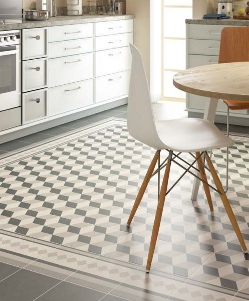 Liberty white 20x20 carrelage imitation carreaux de ciment gr s c rame d co int rieur - Carreaux sol noire ...