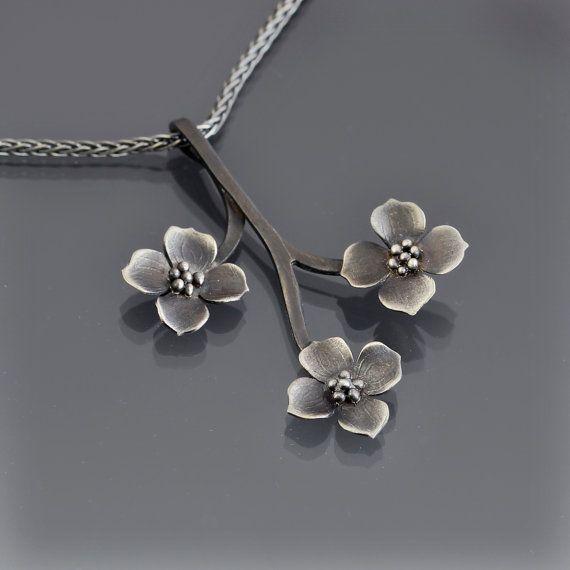 Sterling Silver Dogwood Branch Necklace Dogwood by lisahopkins