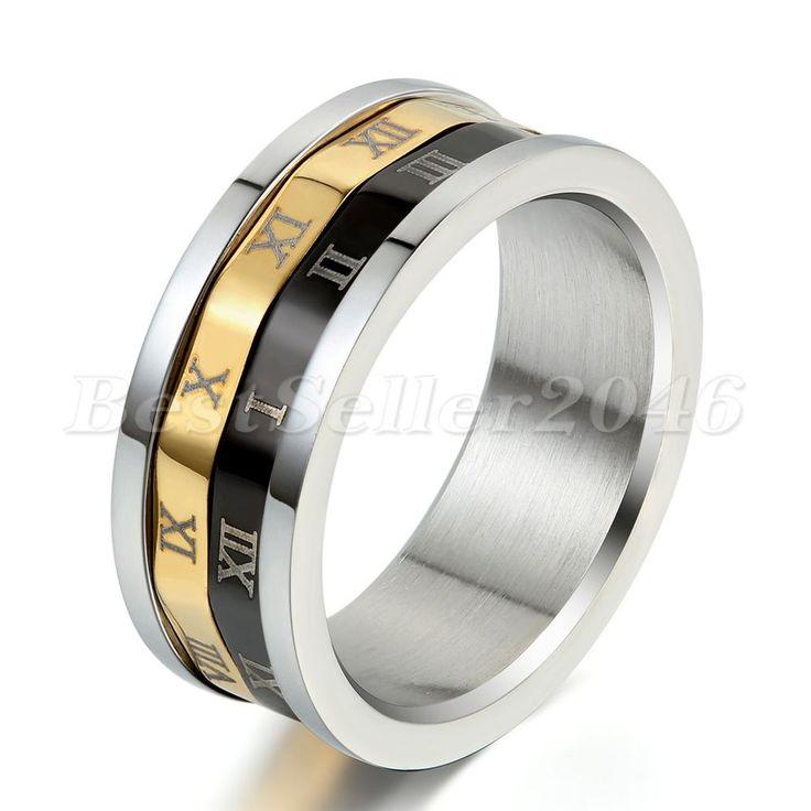 Edelstahl Ring Ringe Silber Schwarz Gold Golden Römische Zahlen Ziffern Drehbar