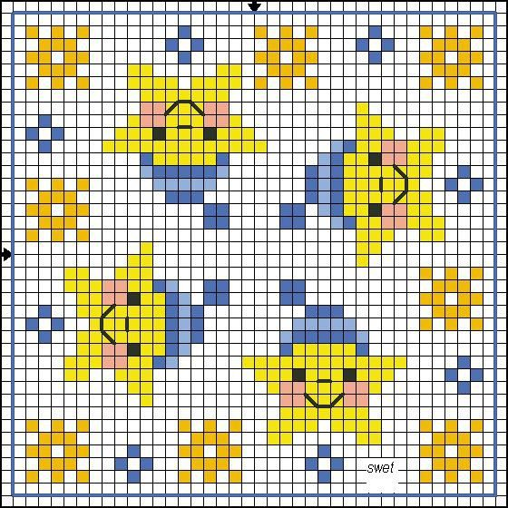 Stars Biscornu chart... no color chart available, just use pattern chart as your color guide.. or choose your own colors..