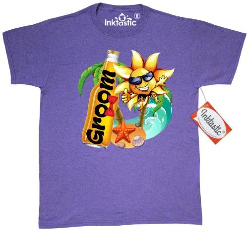 Inktastic Beer Beach Groom T-Shirt Wedding Honeymoon Newlywed Fun Funny Mens Adult Clothing Apparel Tees T-shirts, Size: XXL, Grey