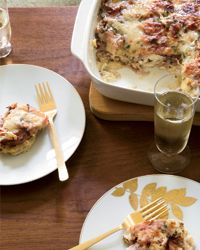 Monte Cristo Strata Recipe from Food & Wine  In this rich and hearty dish, bread, ham and cheese are baked in an eggy custard; grainy mustard and tarragon add a lovely, vibrant flavor.  Slideshow: Great Strata Recipes