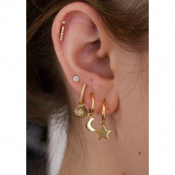 Hammered Gold earrings gold bar earrings Long linear earrings gold arch earring SOLID Gold Long Arch earrings arch earrings u earrings