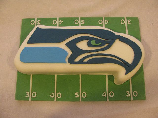 Seattle Seahawks Football Cake by frostmesweet. Grooms cake?