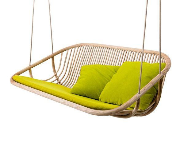 the modernized swing (made from gently bent sassafras wood)