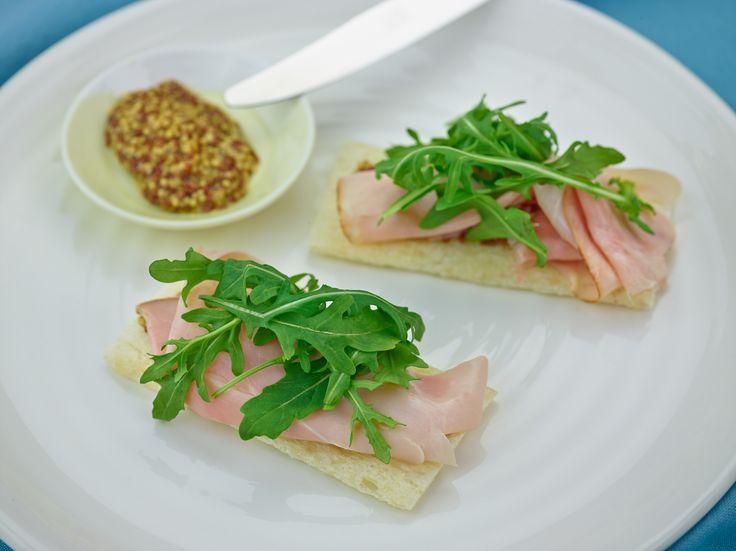 Ham with wholegrain mustard & rocket - recipe courtesy of Campbell Arnotts