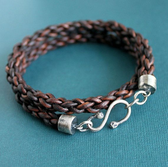 Mens Leather Wrap Bracelet, Thick Braided Cord Sterling Hand Forged Hook