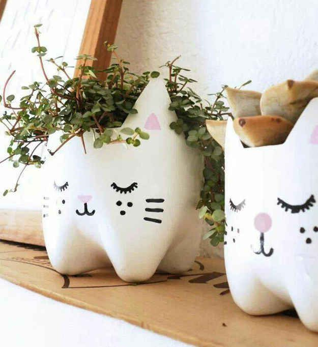 Pet Bottle Kitty Planters you can paint them white or any color or even leave em clear and grow any type of plant or flowers. I choose this because instead of taking up space you use this idea and you can reuse them.