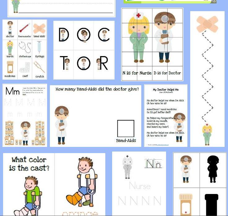 Educational Freebie Doctor And Nurses Preschool Pack