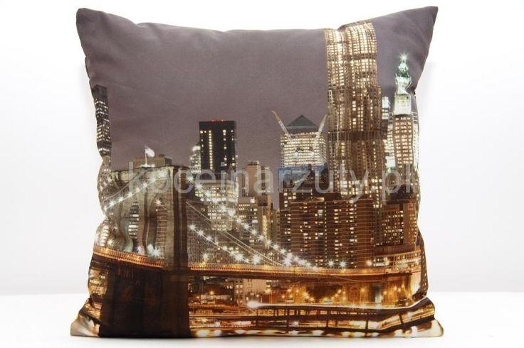 Poszewki na poduszki ozdobne brązowe z wielkim miastem