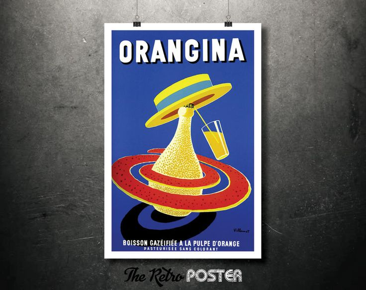 1950s Orangina - Vintage Advertising Poster  by Bernard Villemot // High Quality Fine Art Reproduction Giclée Print by TheRetroPoster on Etsy