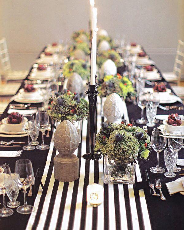 A black & white striped banquet.