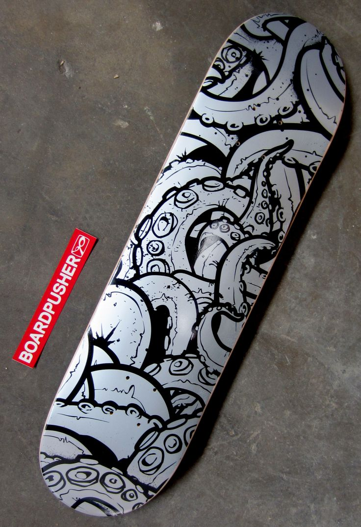 Today's Featured Deck is a customizable tentacle background designed by Artur Wosko of www.selfinflatable.net. This one was created using the silver base option. Check out more of Artie's graphics s at www.BoardPusher.com/shop/selfinflatable or get to choosing a background and designing your own deck at www.BoardPusher.com/custom/skateboard-designer.