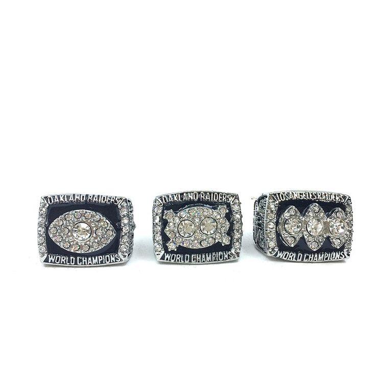 Replica Oakland Raiders Super Bowl Set 1976/1980/1983 Solid Alloy Championship Ring Sets Size 8-14