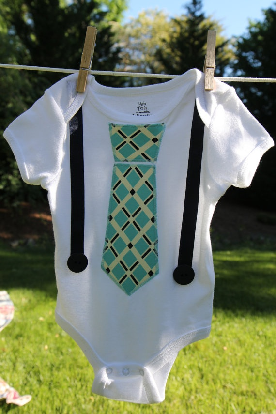 Chic Boy Tie Onsie- Teal  https://www.etsy.com/shop/pbandjbabychic
