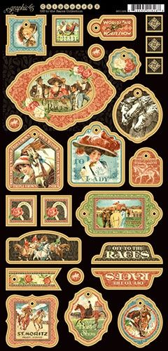Off to the Races Decorative Chipboard