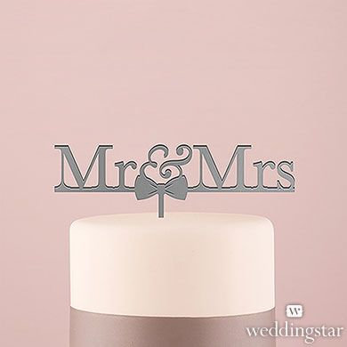 Mr and Mrs Bow Tie Acrylic Cake Topper - Metallic Silver