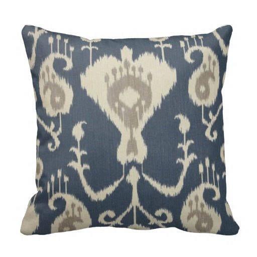 decorative couch pillow, ikat pillow covers, ikat accent pillows, blue grey pillows, ikat throw pillows, ikat chair pillow, lumbar, 16x16 by FineFreshDesign on Etsy https://www.etsy.com/listing/523426486/decorative-couch-pillow-ikat-pillow