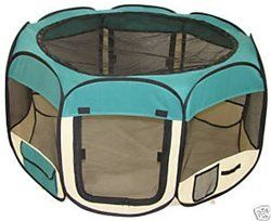 $44.95-$74.95 Pet Travel, Indoor or Outdoor Dog Cat Puppies Kitten Play Yard *Teal* *Small* - Product Description  Do you want to keep the small pets safe while they play? This brand new Playpen might meet your needs. The playpen can be used around the house to confine pets to a specific area, but it also allows them large room to play. With the pad, he would surely enjoy the comfy feeling and wou ...